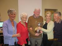 Carmel O Boyle 2nd from Left presenting the O Boyle Trophy to Ann Ryan Willie Mulvey Mary Healy Jack Healy
