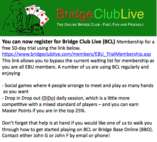 Bridge Club Live Special Offer