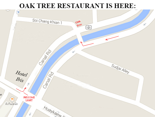Map to Oak Tree Restaurant