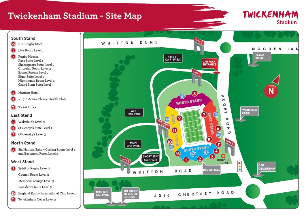 Map of Twickenham Stadium