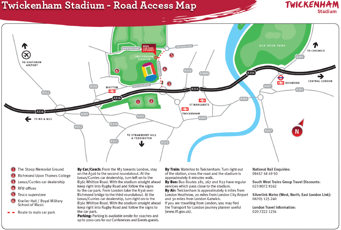 Map of roads near Twickenham Stadium