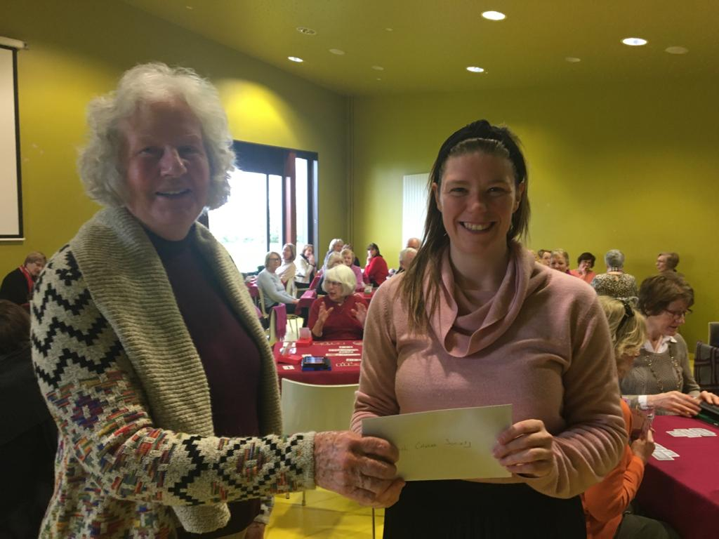 Charity Morning 2020 - Mary presents Irish Cancer Society with cheque for $755