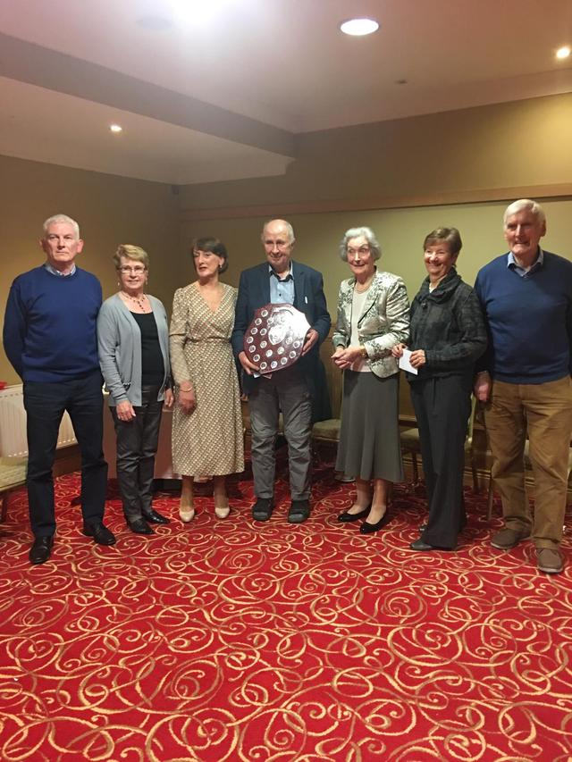 Anne Freeman presenting the Freeman Trophy to John Duffy Also in picture is our President Sally Egan and other winners