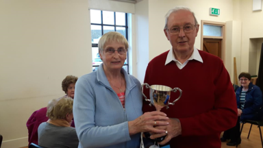 The President's Prize (Mon) being presented to Paddy Leonard by Kitty McCormack