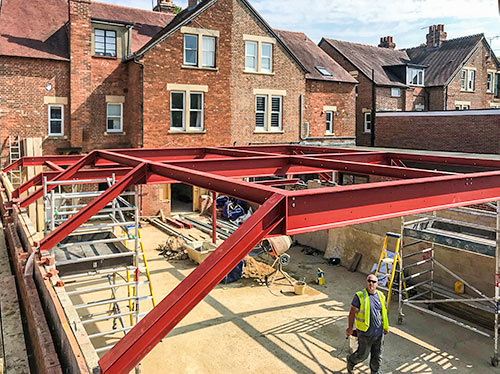 Extension roof steels in place - September 4