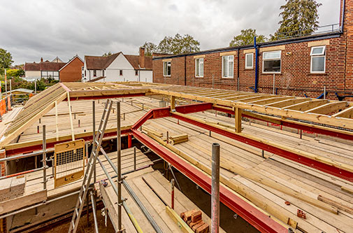 View from Flat A to new roof timbers - September 18