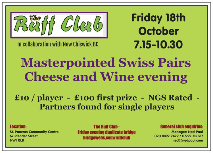Book Swiss Pairs - Friday 18th October