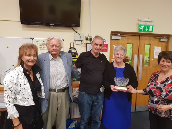 Winners of John Comyn Trophy 2019, Paul Derham Mary Conlon, Phil Stapleton (not present) & Olive Corbett