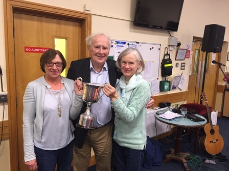 Joe Moran with the overall winners Barbara McNamara and Mary Tynan pictured with Joe Moran