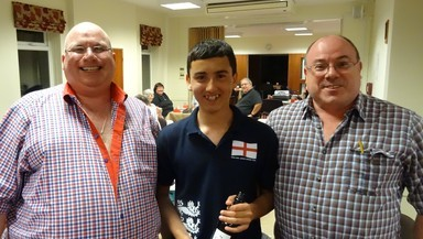 Swiss Pairs winners, pictured with Chairman, Darren Evetts, Andy & Graham Cope